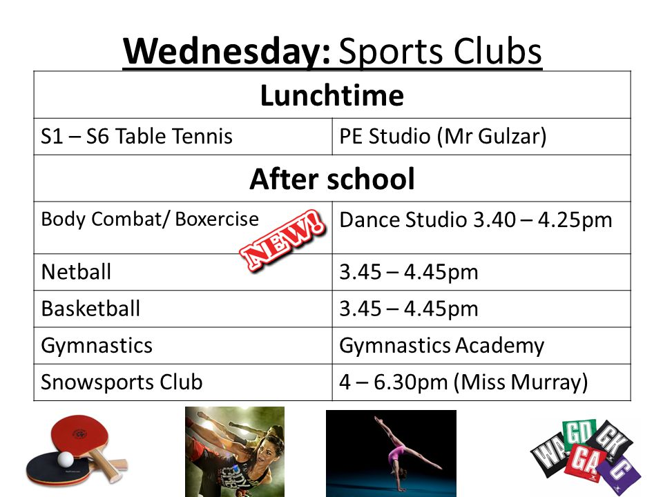 Wednesday: Sports Clubs
