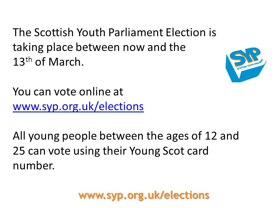You can vote online at www.syp.org.uk/elections