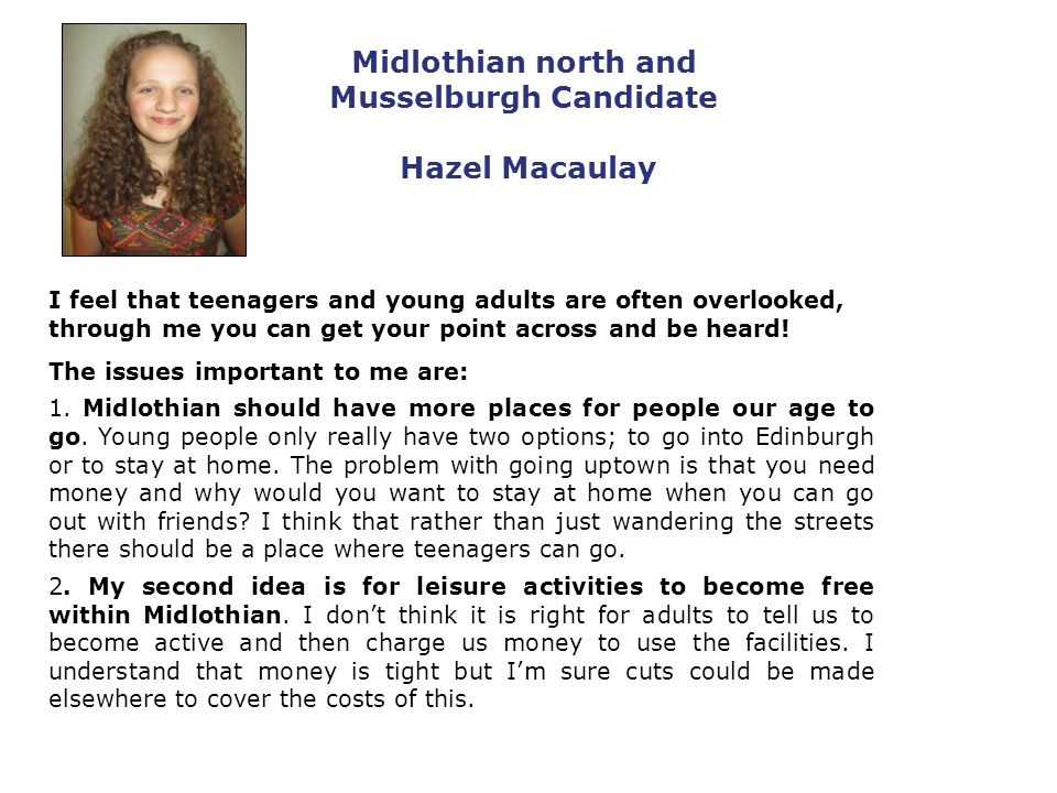 Midlothian north and Musselburgh Candidate