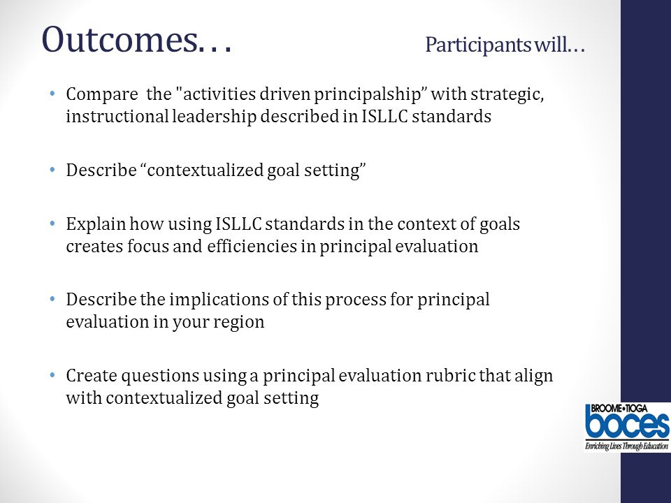 Outcomes. . . Participants will. . .