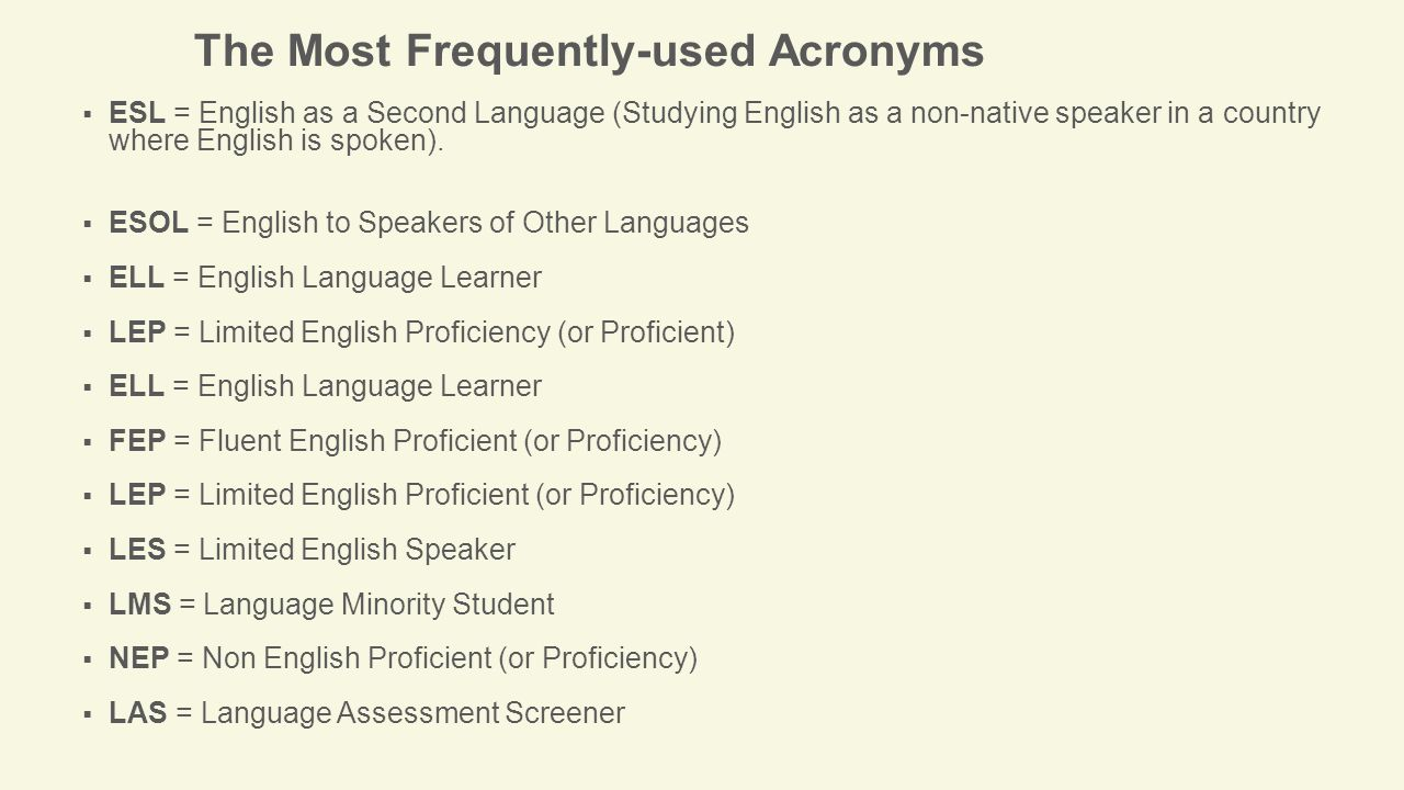 The Most Frequently-used Acronyms