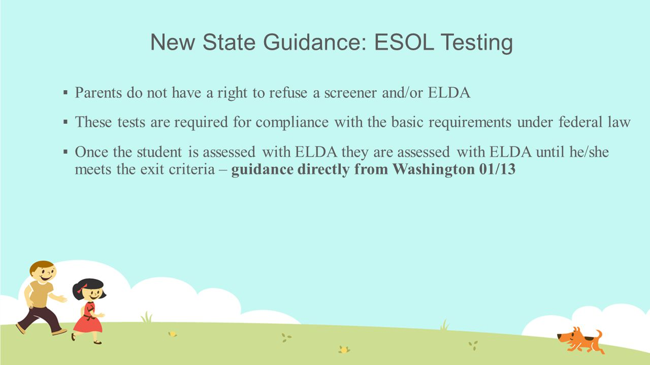 New State Guidance: ESOL Testing