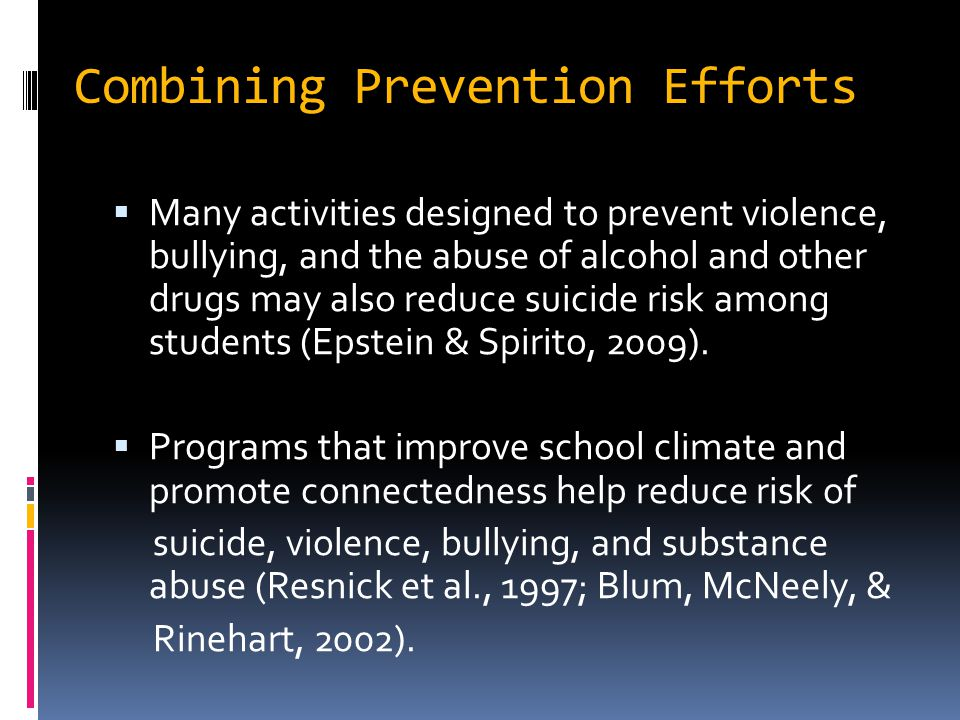 Combining Prevention Efforts