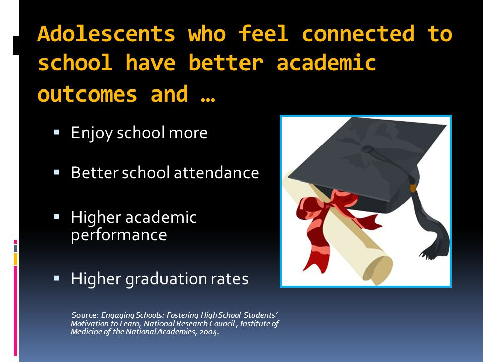 Adolescents who feel connected to school have better academic outcomes and …