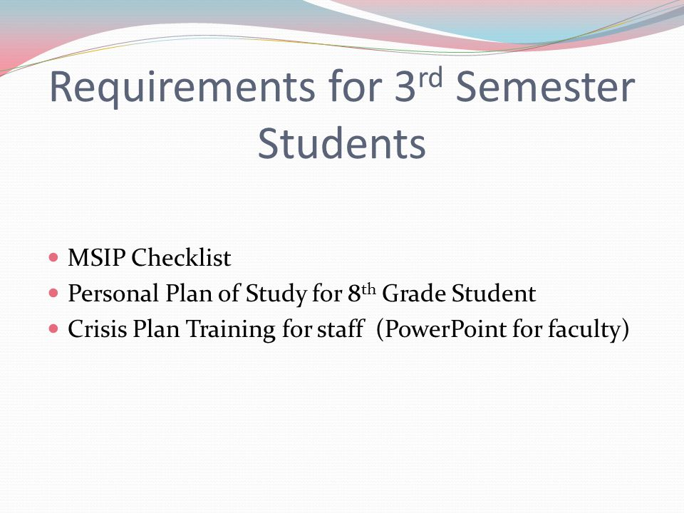 Requirements for 3rd Semester Students