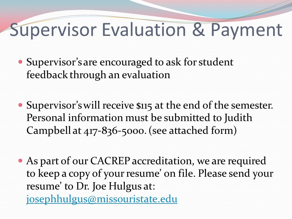 Supervisor Evaluation & Payment