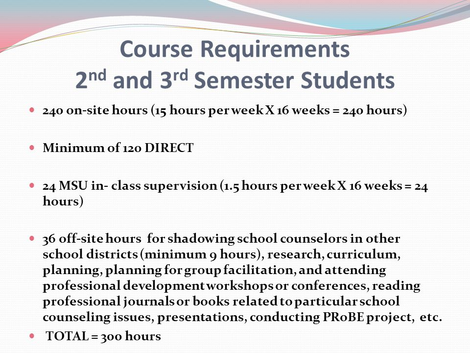 Course Requirements 2nd and 3rd Semester Students