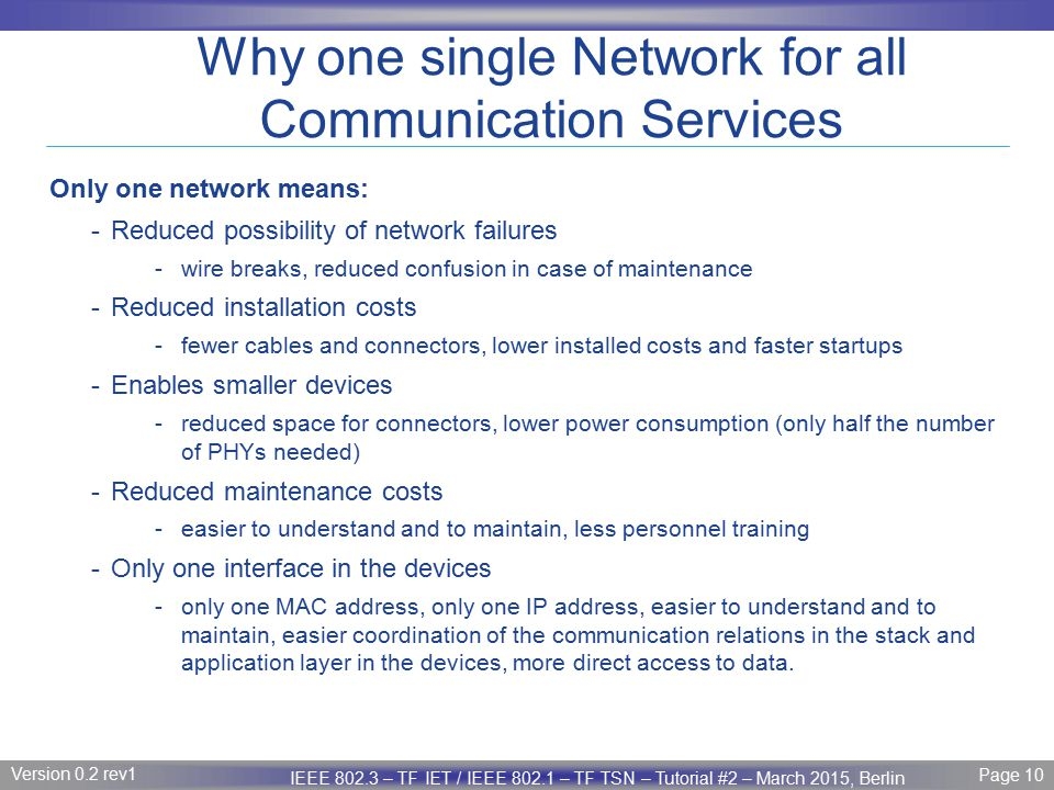 Why one single Network for all Communication Services