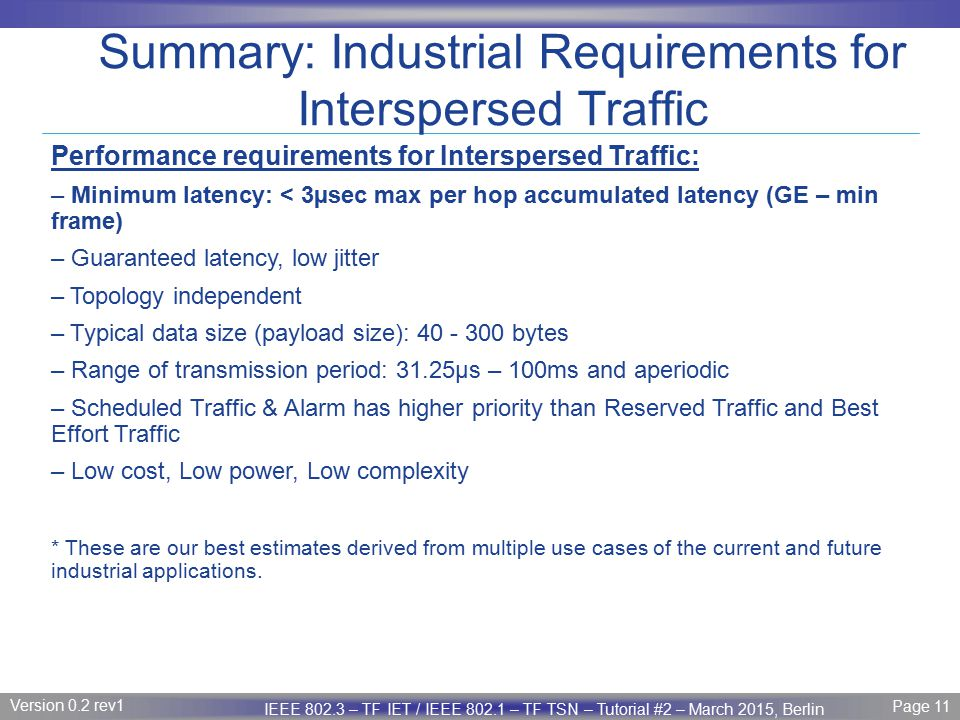 Summary: Industrial Requirements for Interspersed Traffic