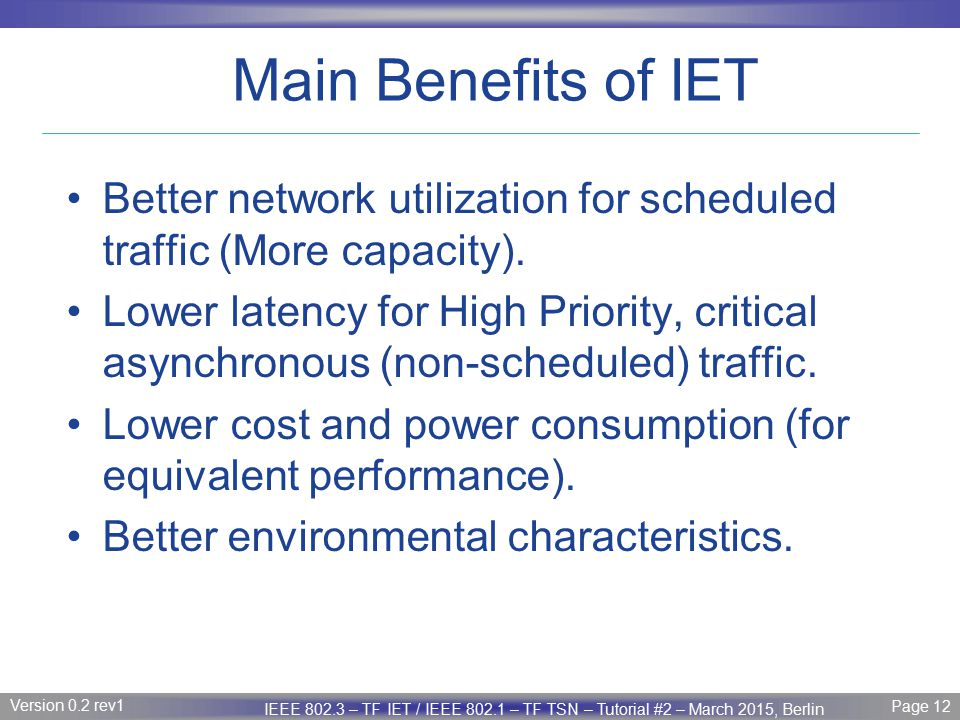 Main Benefits of IET Better network utilization for scheduled traffic (More capacity).