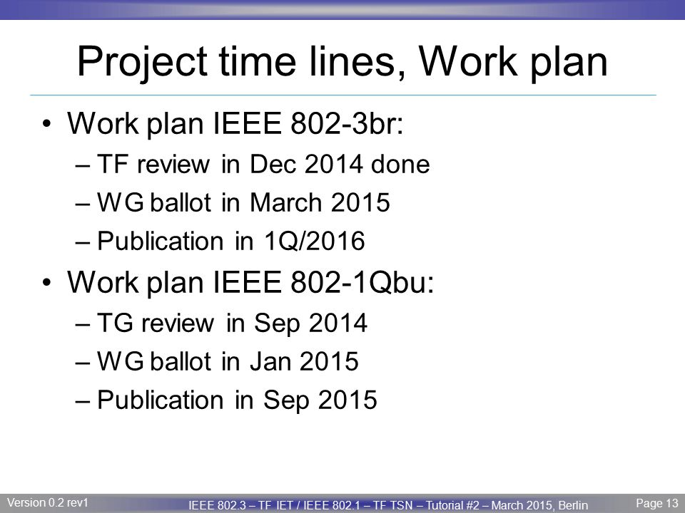 Project time lines, Work plan