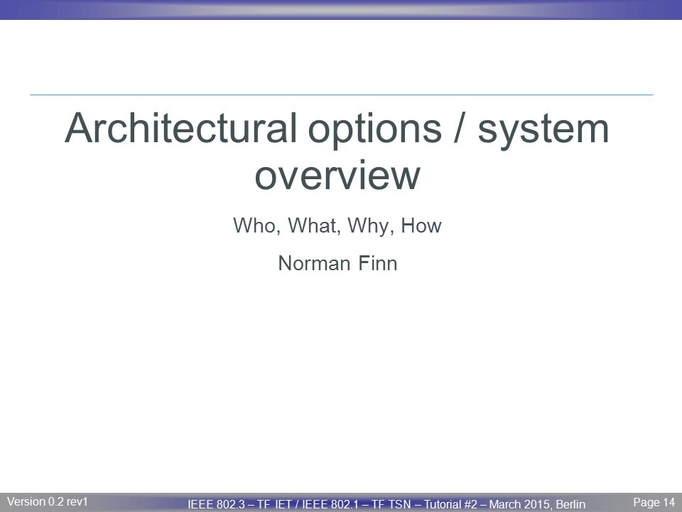 Architectural options / system overview