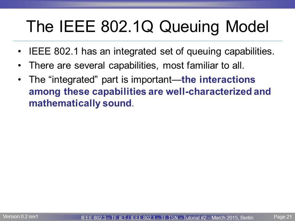 The IEEE 802.1Q Queuing Model