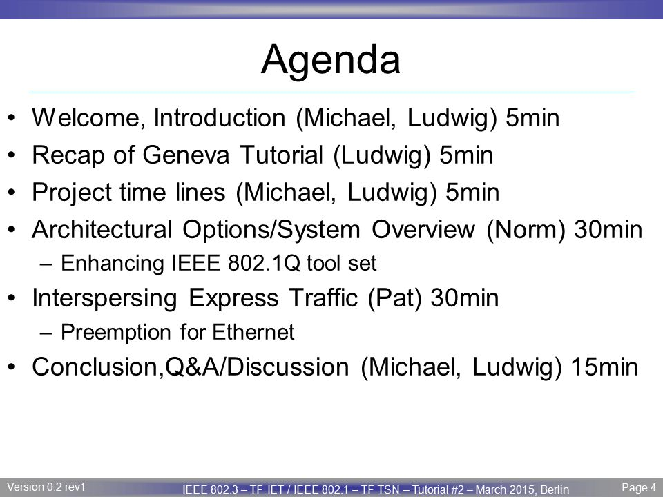 Agenda Welcome, Introduction (Michael, Ludwig) 5min