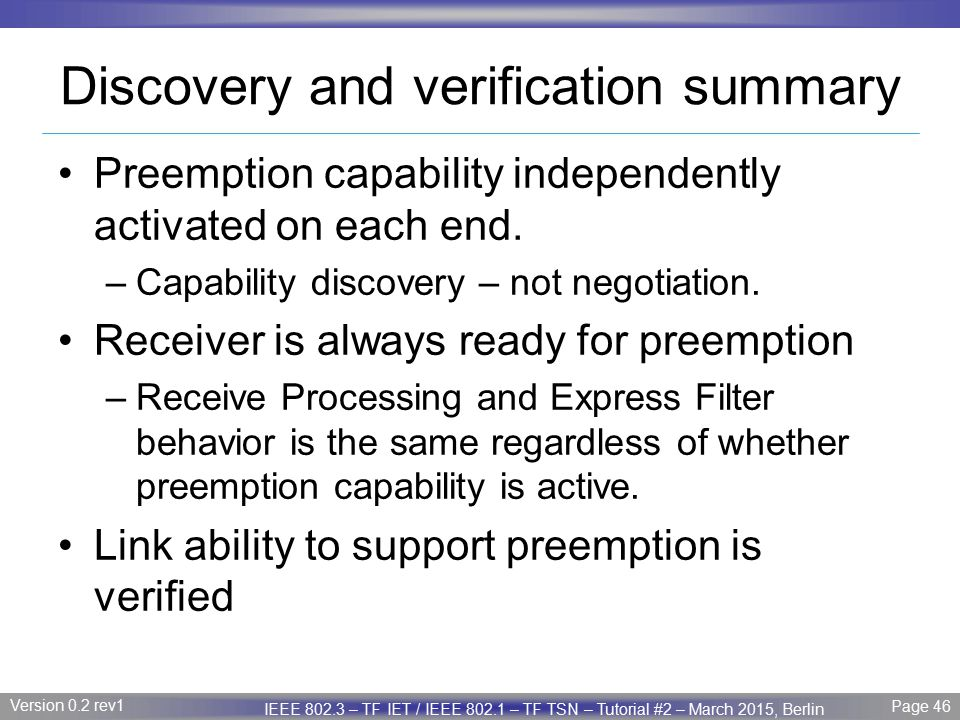 Discovery and verification summary