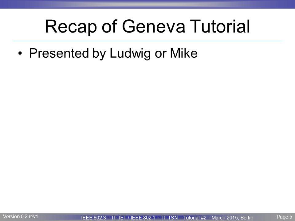 Recap of Geneva Tutorial