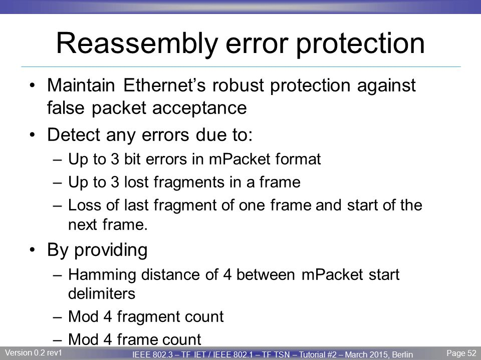Reassembly error protection