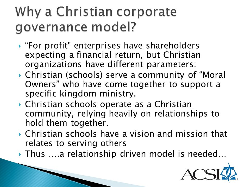 Why a Christian corporate governance model