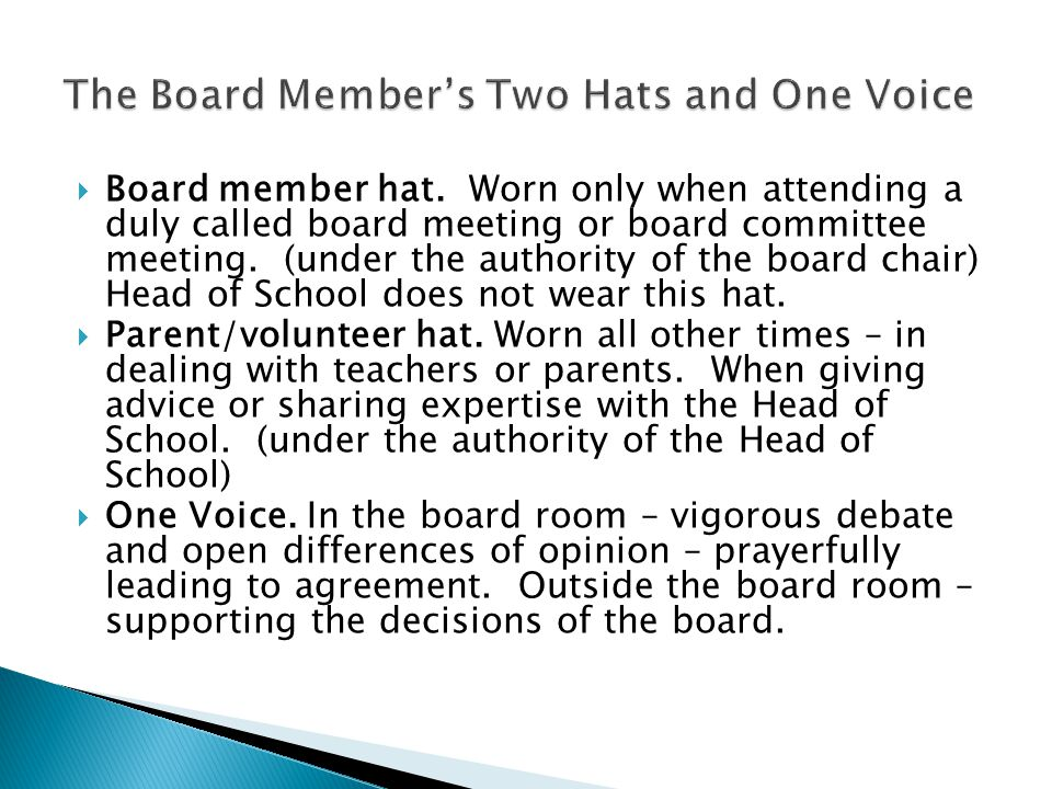 The Board Member's Two Hats and One Voice