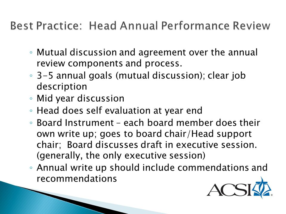 Best Practice: Head Annual Performance Review