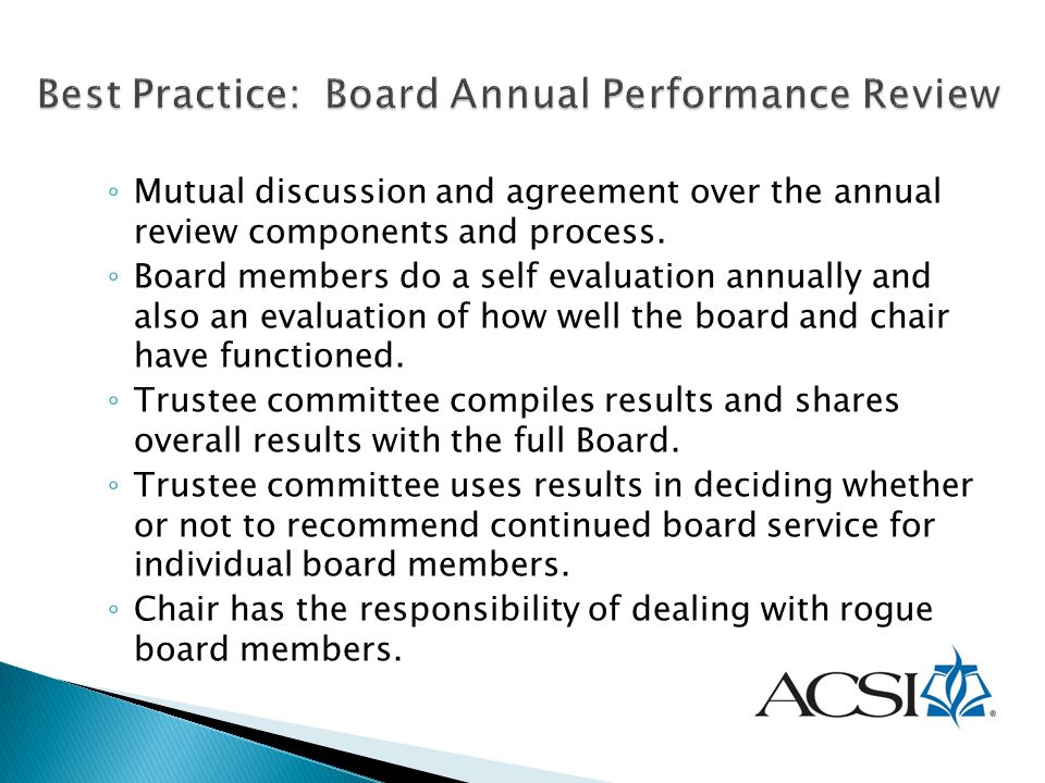 Best Practice: Board Annual Performance Review