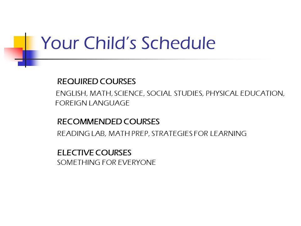 Your Child's Schedule REQUIRED COURSES. ENGLISH, MATH, SCIENCE, SOCIAL STUDIES, PHYSICAL EDUCATION,