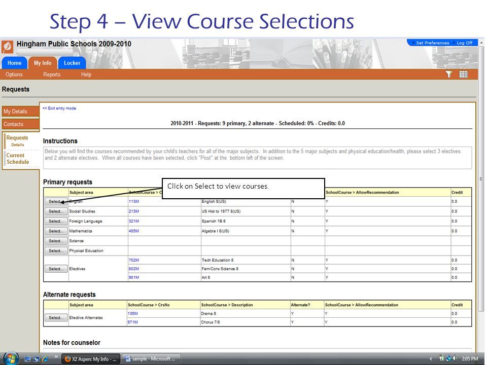 Step 4 – View Course Selections