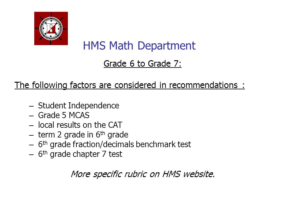 More specific rubric on HMS website.