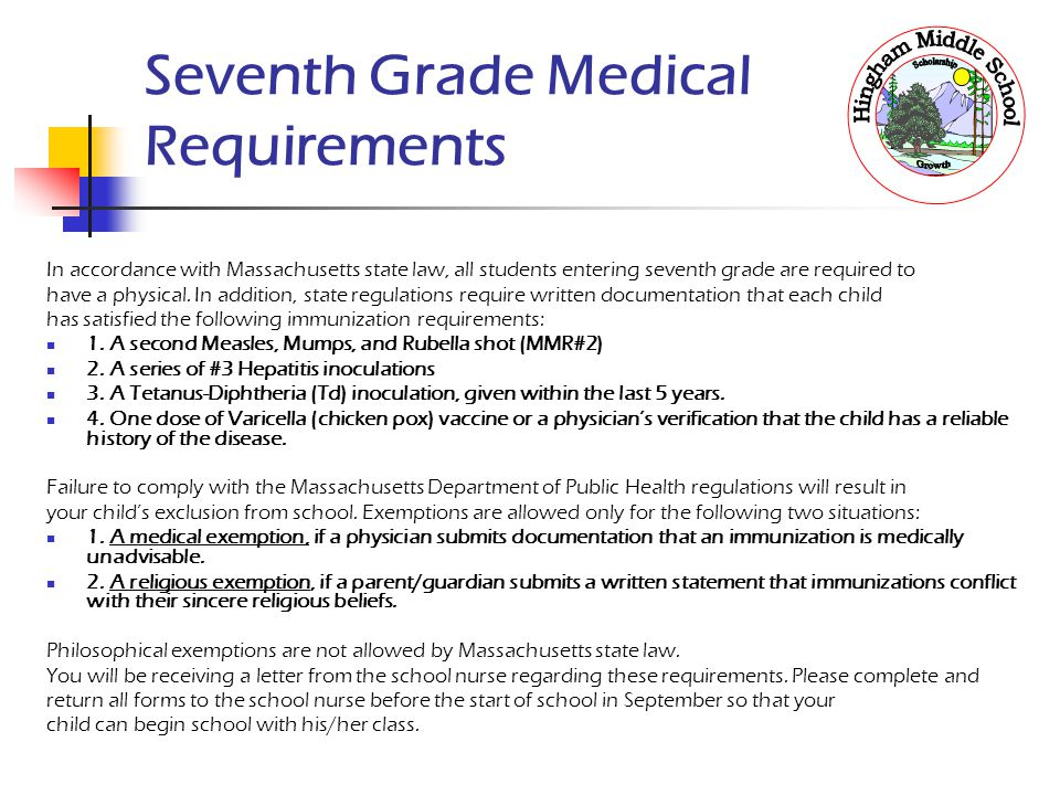 Seventh Grade Medical Requirements
