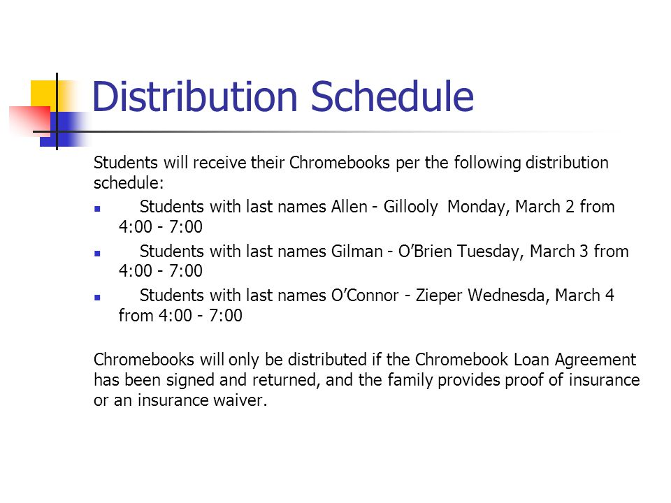 Distribution Schedule