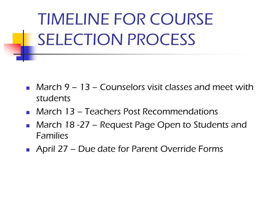 TIMELINE FOR COURSE SELECTION PROCESS