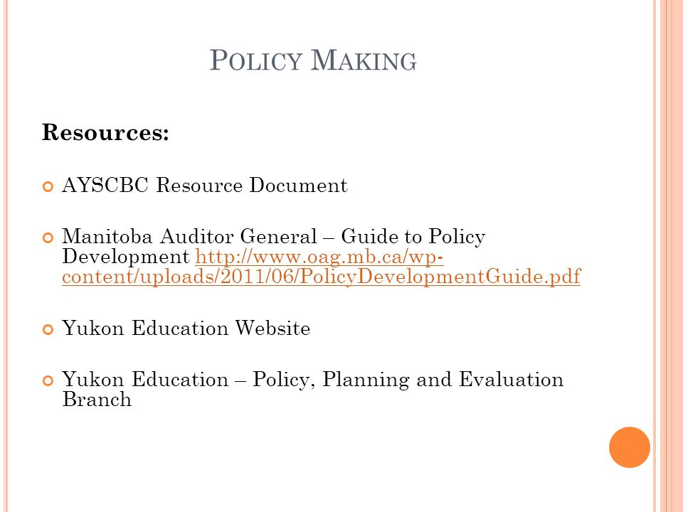 Policy Making Resources: AYSCBC Resource Document