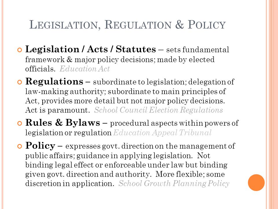 Legislation, Regulation & Policy
