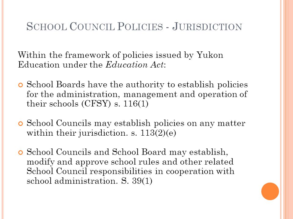 School Council Policies - Jurisdiction