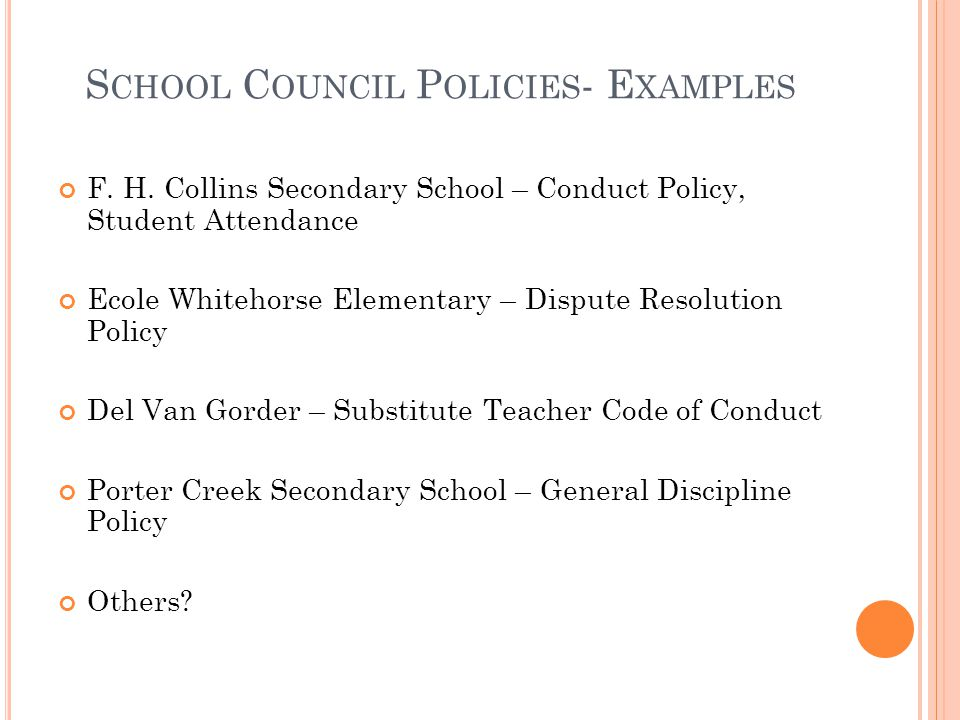 School Council Policies- Examples