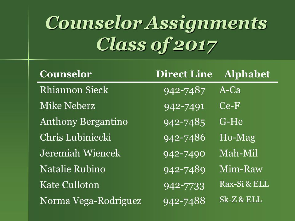Counselor Assignments Class of 2017