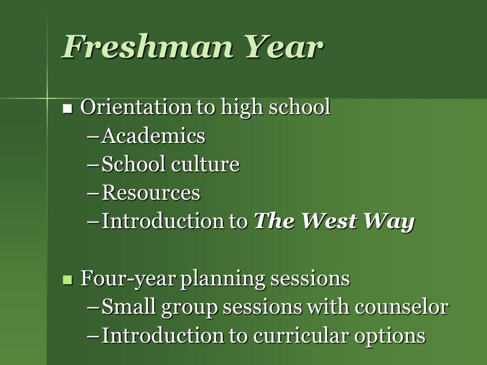 Freshman Year Orientation to high school Academics School culture