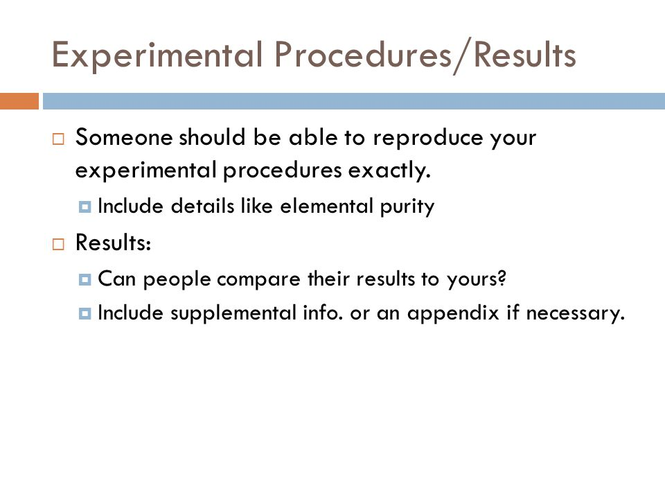 Experimental Procedures/Results