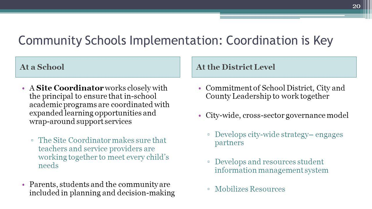 Community Schools Implementation: Coordination is Key