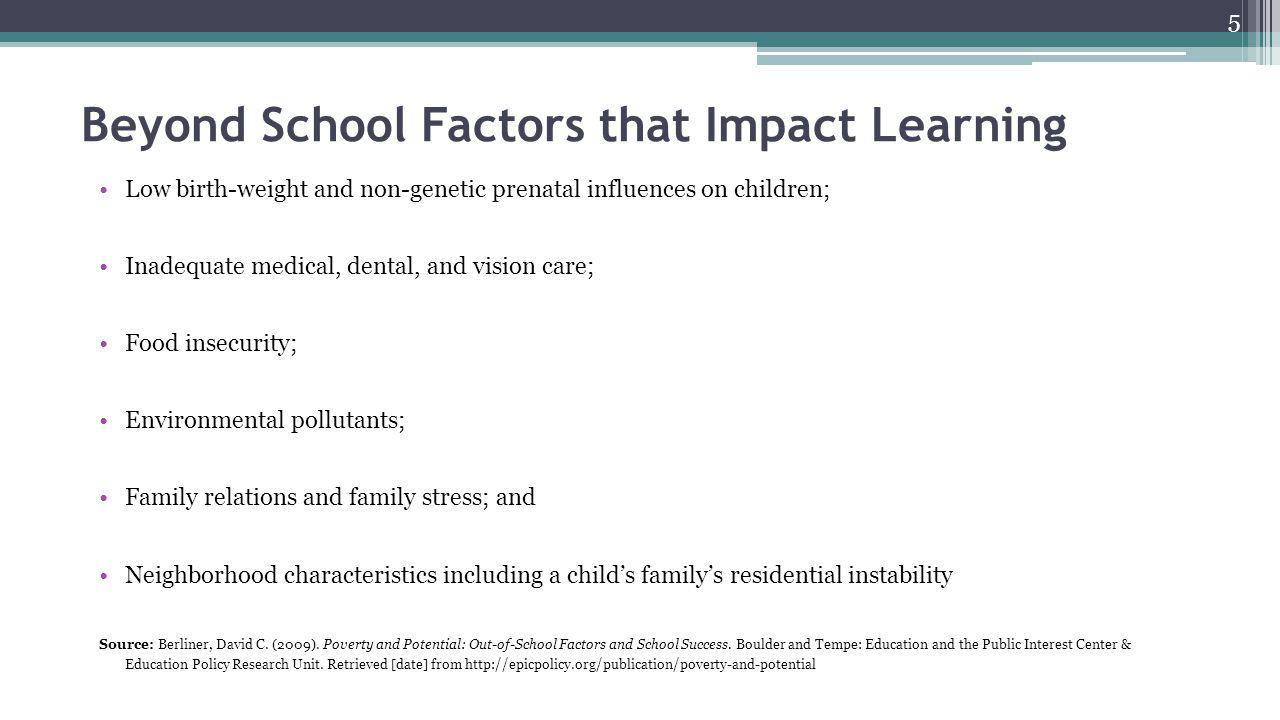 Beyond School Factors that Impact Learning