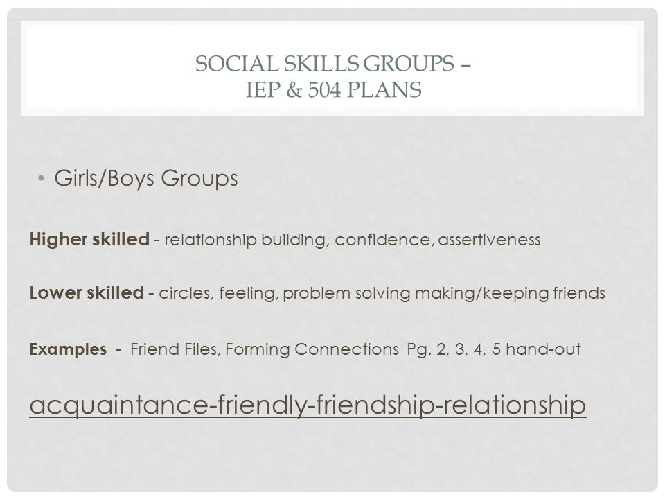 Social Skills Groups – IEP & 504 plans