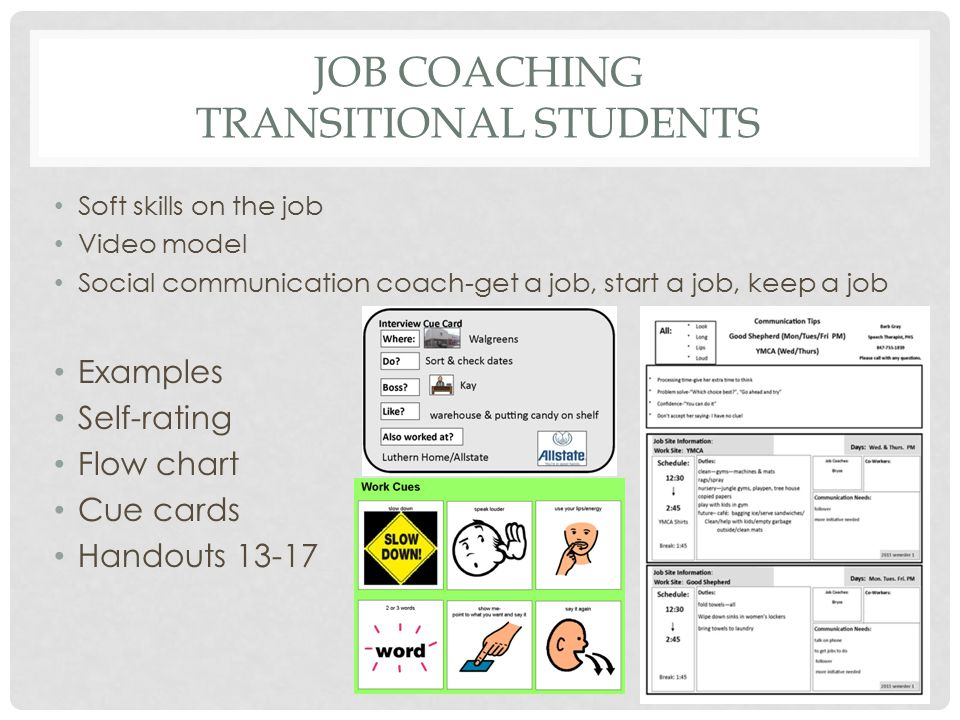 Job Coaching transitional students