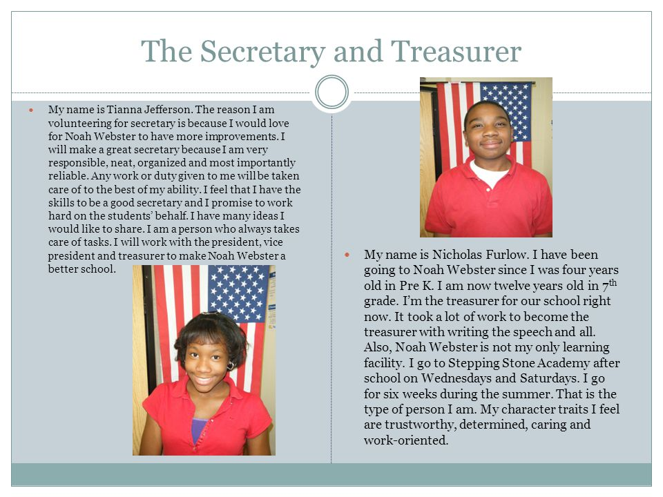 The Secretary and Treasurer