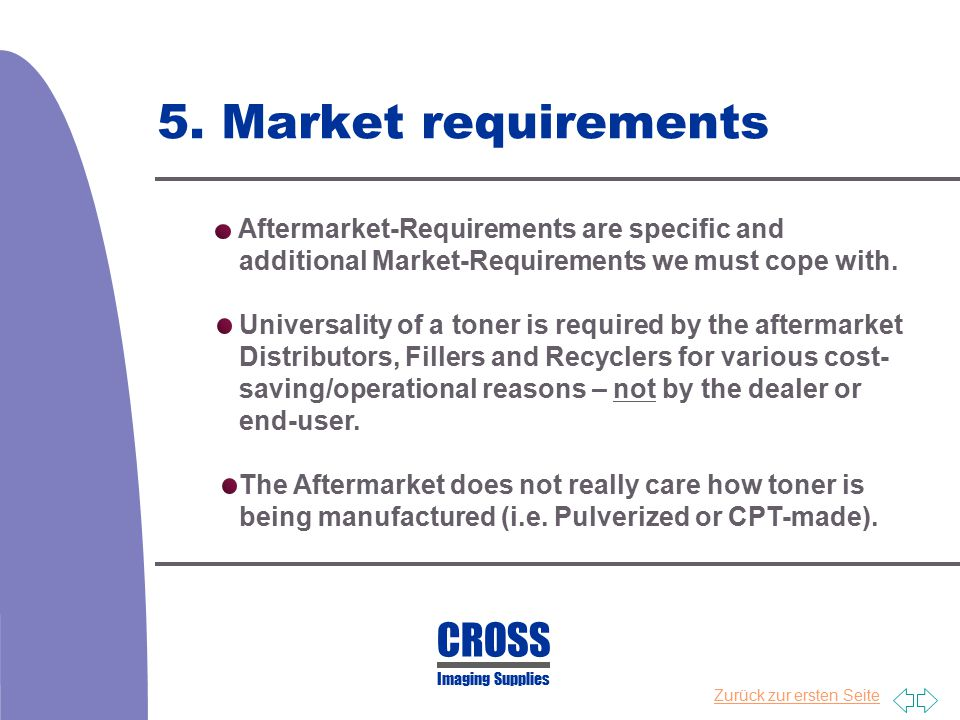 5. Market requirements CROSS Aftermarket-Requirements are specific and