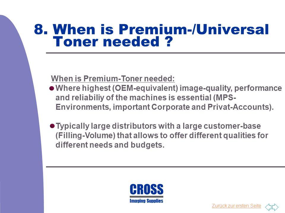 8. When is Premium-/Universal Toner needed