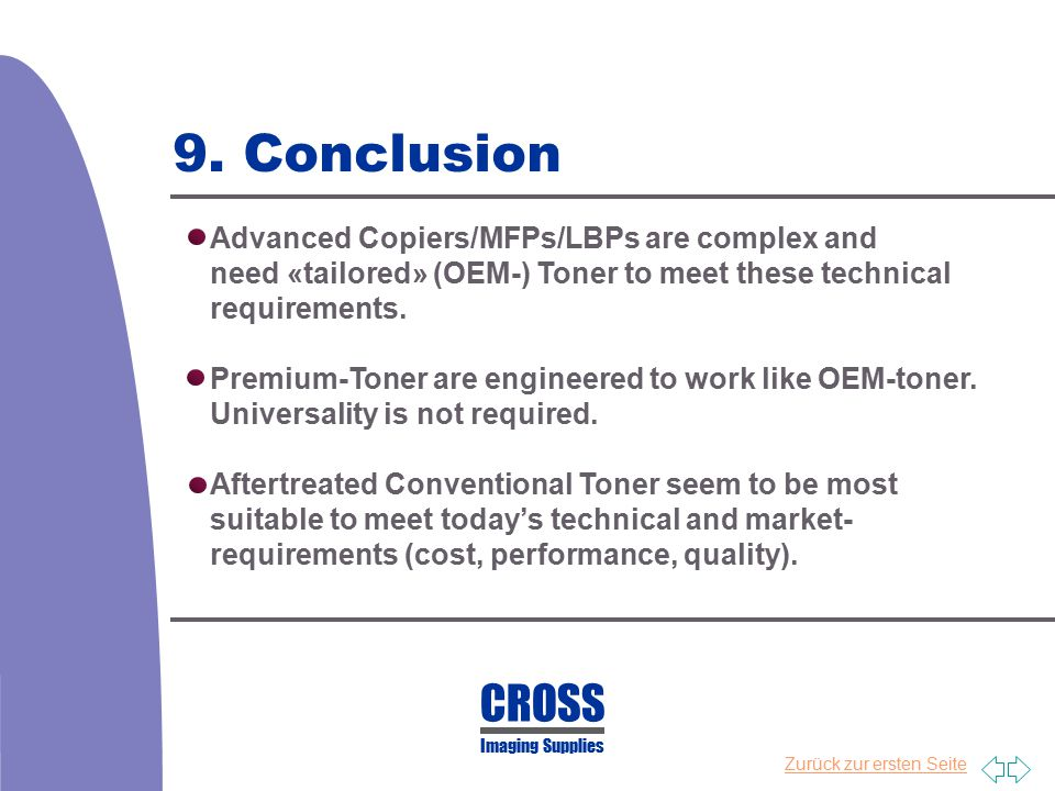 9. Conclusion CROSS Advanced Copiers/MFPs/LBPs are complex and