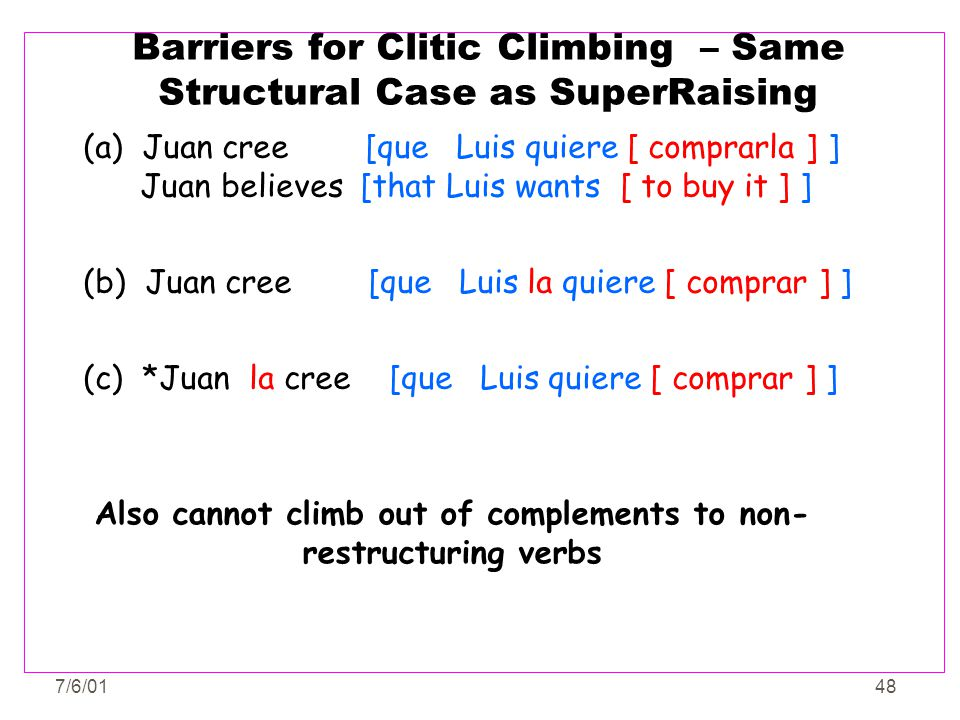 Barriers for Clitic Climbing – Same Structural Case as SuperRaising