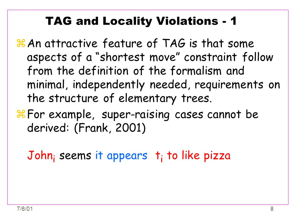 TAG and Locality Violations - 1