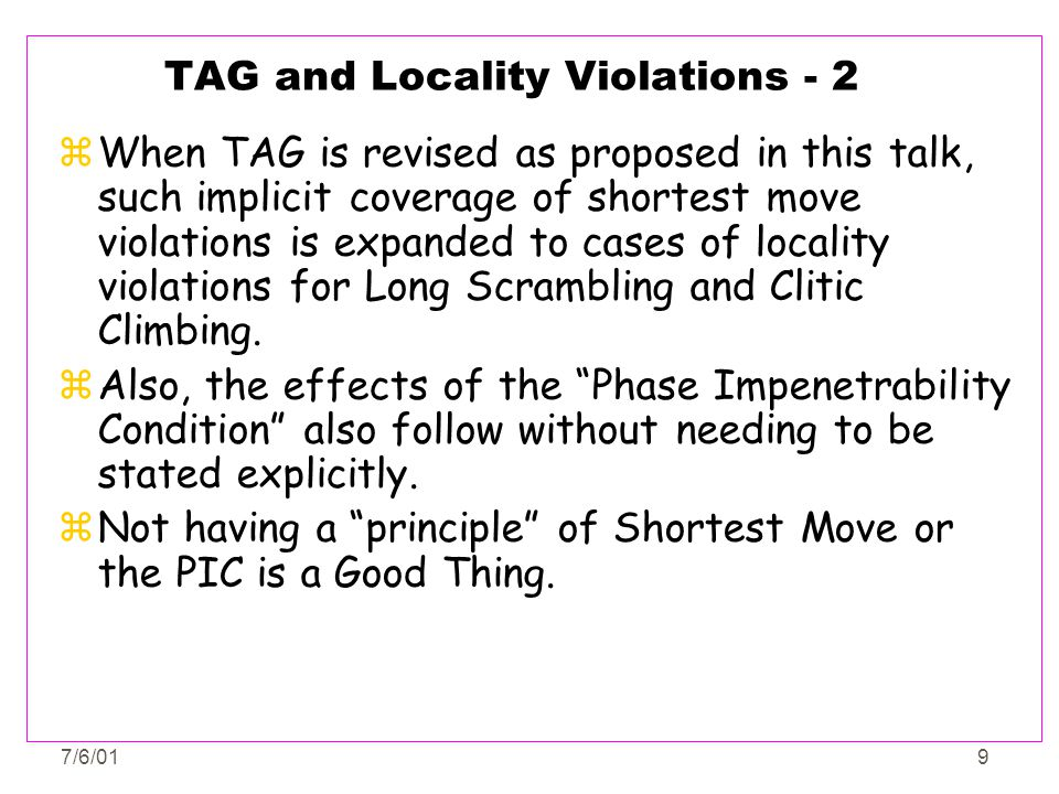 TAG and Locality Violations - 2