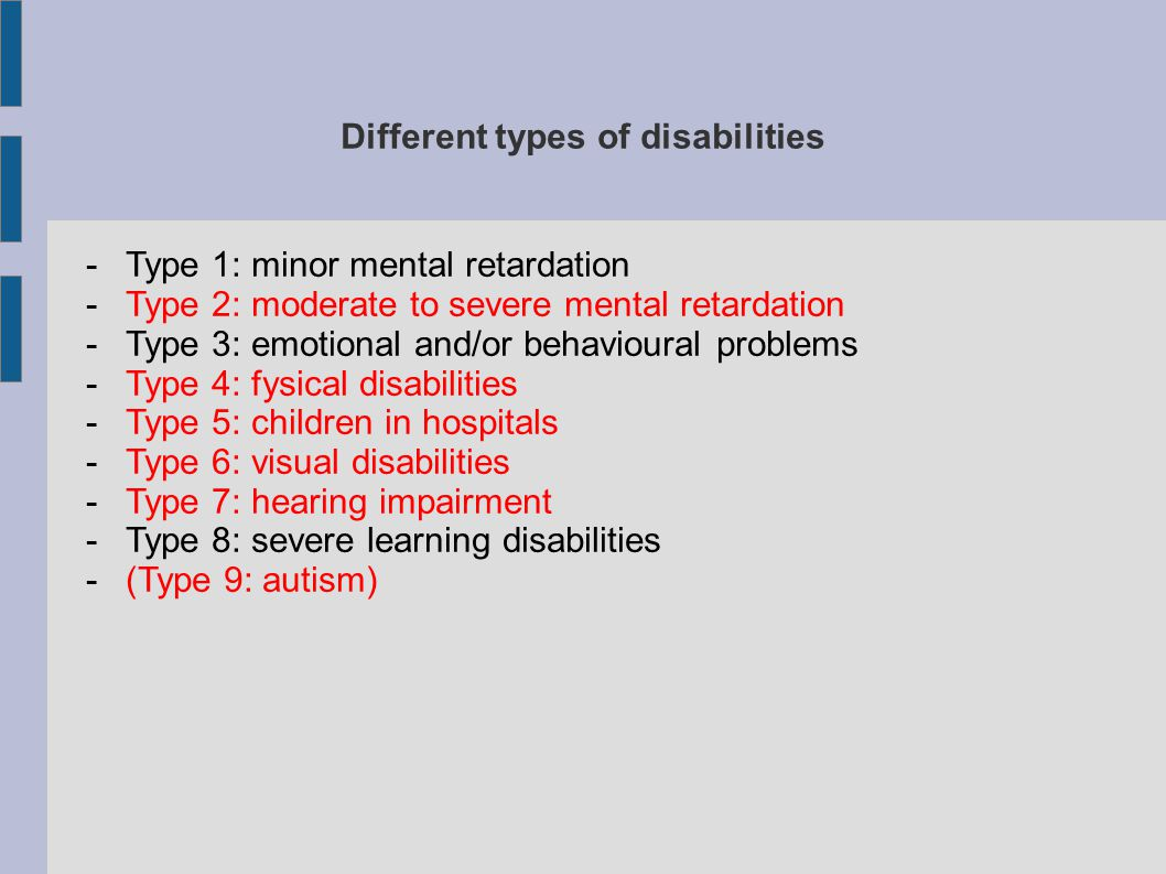 Different types of disabilities